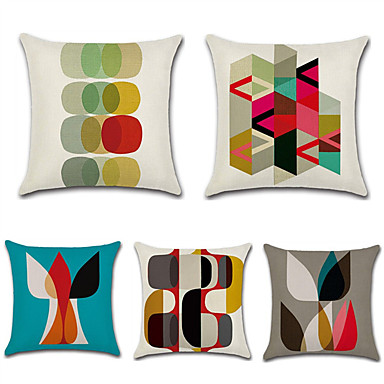 cheap Pillow Covers-Set of 5 Cotton / Linen Pillow Case, Polka Dot Damask Geometic Artistic Style Abstract Throw Pillow