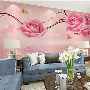 cheap Wall Art-Pink Floral Art Deco Wallpaper Mural Canvas Wall Covering