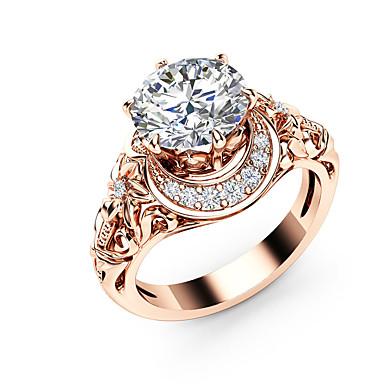 billige Ringer i sterlingsølv-Dame Ring Kubisk Zirkonium 1pc Rose Gull Kobber Gullplatert rose Geometrisk Form Stilfull Luksus Unikt design Fest Gave Smykker Blomst Søtt