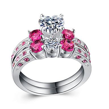 billige Motering-Dame Ring Set Kubisk Zirkonium 2pcs Hvit Kobber Gullbelagt Stilfull Europeisk Romantikk Bryllup Gave Smykker Tofargede Hjerte Kul