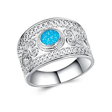 preiswerte Ringe Silber-Damen Bandring Ring Synthetischer Opal 1pc Weiß Blau Aleación Geometrische Form Erklärung Stilvoll Luxus Party Geschenk Schmuck Cool
