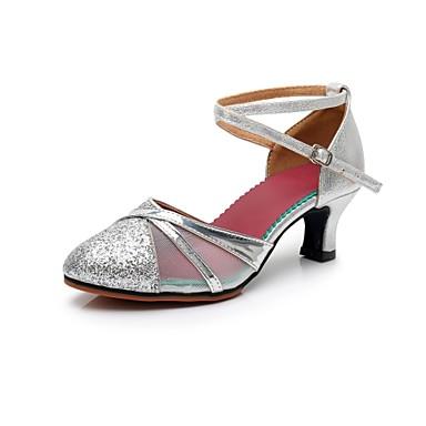 c5c35908 Mujer Zapatos de Baile Moderno Sintéticos Tacones Alto Corte Tacón Cubano  Personalizables Zapatos de baile Dorado / Plateado 7215112 2019 – $18.89