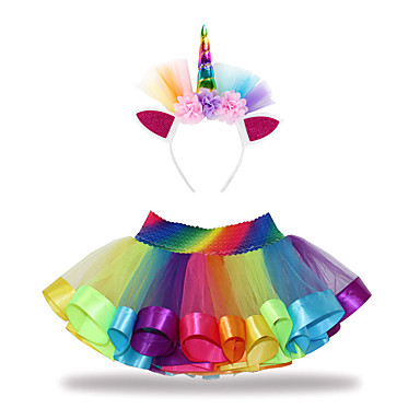 cheap Baby & Kids-Kids Toddler Girls' Active Basic Unicorn Patchwork Lace Skirt Rainbow