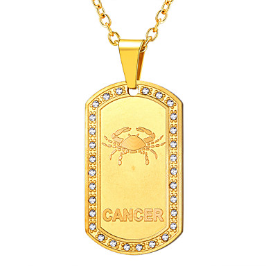 povoljno Modne ogrlice-Žene Vedro Kristal Ogrlice s privjeskom Zodijak Rak Moda Titanium Steel nehrđajući Zlato Crn Pink 55 cm Ogrlice Jewelry 1pc Za Rođendan Dar Dnevno Spoj Voljeni