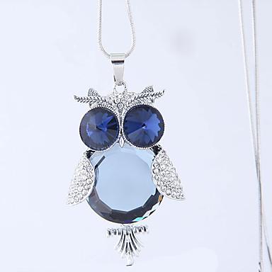 levne Dámské šperky-Dámské Náhrdelníky s přívěšky dlouhý náhrdelník Sova Evropský Módní Sklo Chrome Umělé diamanty Modrá 70 cm Náhrdelníky Šperky 1ks Pro Denní