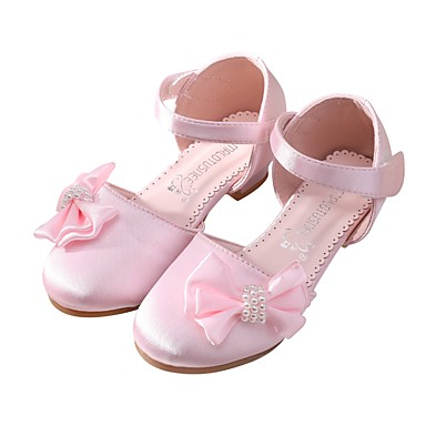 ec5099508b MRLOTUSNEE® Girls  Shoes Satin Summer   Fall Flower Girl Shoes   Tiny Heels  for Teens Sandals Bowknot   Magic Tape for Kids   Toddler Light Pink    Ivory ...