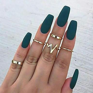 billige Motering-Dame Ring Ring Set Midiringe 5pcs Gull Sølv Legering Rund Unikt design trendy Søt Fest Daglig Smykker geometriske Puls