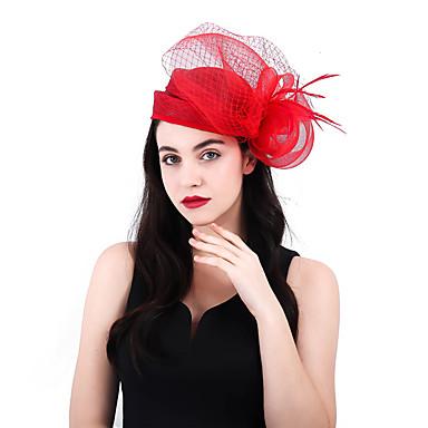 38d2bf6d Net / Linen / Cotton Blend Kentucky Derby Hat / Fascinators / Flowers with  Feather / Net 1 Piece Wedding / Party / Evening Headpiece 7187083 2019 –  $34.99