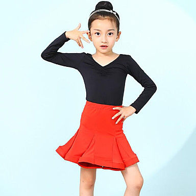 e248686c00c5 Latin Dance / Kids' Dancewear Outfits Girls' Training / Performance Spandex  Lace / Cascading Ruffles Long Sleeve Skirts / Leotard / Onesie 7210743 2019  – ...