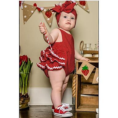 povoljno Odjeća za bebe-Dijete Djevojčice Aktivan Dnevno Na točkice Sa stilom Bez rukávů Pamuk bodysuit Red / Dijete koje je tek prohodalo