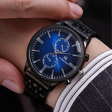 levne Pánské-Pánské Náramkové hodinky Křemenný Nerez Černá 30 m Voděodolné Nový design Hodinky na běžné nošení Analogové Vintage Módní - Černá Červená Modrá