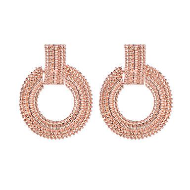 povoljno Modne naušnice-Žene Viseće naušnice Geometrijski Jednostavan Mértani Europska Naušnice Jewelry Crn / Pink / Rose Gold Za Ulica Rad 1 par