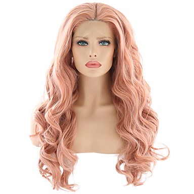 Synthetic None-lacewigs Active Sylvia Long Body Wave Hair Wig Orange Synthetic Lace Front Wig For Women Girls Party Cosplay Wig Free Part Heat Resistant Fiber Hair Extensions & Wigs