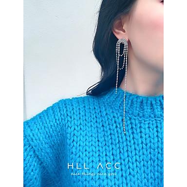 preiswerte Lange Ohrringe-Damen Tropfen-Ohrringe Lang Anhänger Stil Diamantimitate Ohrringe Schmuck Silber Für Hochzeit Party Klub Valentinstag Bar 1 Paar