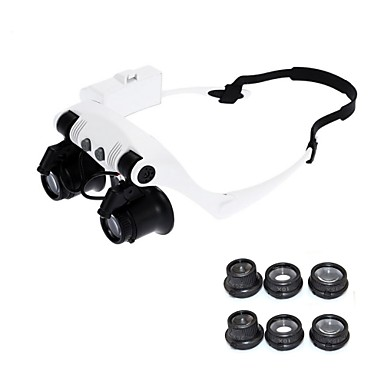 cheap Hand Tools-10X 15X 20X 25X Wearing Glasses Eyes Illuminated Magnifier Magnifying Glass Watch Repairing Loupe With LED Lights