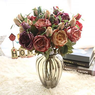 Umjetna Cvijeće 1 Podružnica Klasični Europska Roses Vječni cvjetovi Cvjeće za stol