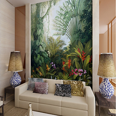 cheap Wall Art-Wallpaper / Mural Canvas Wall Covering - Adhesive required Art Deco / Pattern / 3D