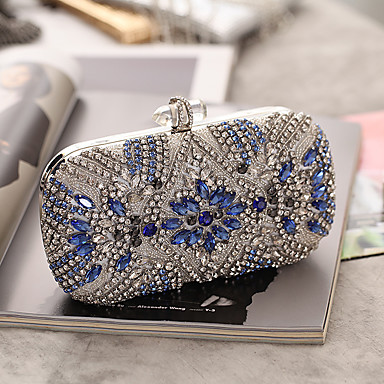 cheap Clutches & Evening Bags-Women's Buttons / Crystals Acrylic / Alloy Evening Bag Rhinestone Crystal Evening Bags Silver / Fall & Winter