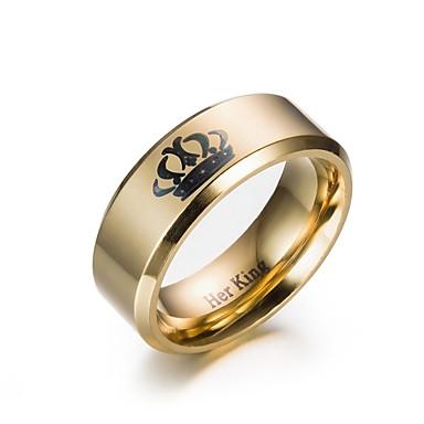 levne Pánské šperky-Pánské Prsten Zásnubní prsten 1ks Zlatá Černá Nerezové Kulatý Zásnuby Dar Šperky Korunka Levný Půvab
