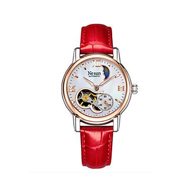 levne Dámské-nesun Dámské mechanické hodinky Na běžné nošení Módní Bílá Modrá Červená Pravá kůže čínština Automatické natahování Hnědá Bílá Rubínově červená Voděodolné Svítící Fáze Měsíce 30 m 1 ks Analogové