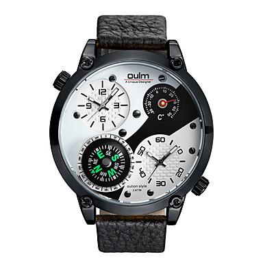 levne Pánské-Oulm Pánské Sportovní hodinky japonština Japonské Quartz Pravá kůže Černá 30 m Teploměr Kompas Hodinky s dvojitým časem Analogové Módní - Bílá Černá Jeden rok Životnost baterie