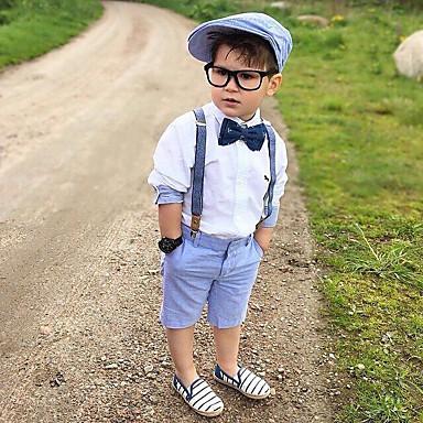 voordelige Kledingsets voor jongens-Kinderen Peuter Jongens Actief Standaard Effen Strik Lange mouw Katoen Kledingset Wit