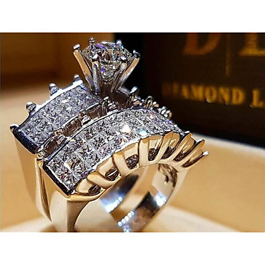 cheap Rings-Women's Ring Cubic Zirconia 1pc Silver Brass Steel Round Fashion Wedding Party Jewelry Classic Heart Heart