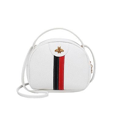 ราคาถูก LITB เลือก-สำหรับผู้หญิง ซิป PU Crossbody Bag ลายบล็อคสี สีดำ / สีแดงชมพู / ทับทิม