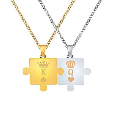 levne Pánské šperky-Pánské Dámské Náhrdelníky s přívěšky Monogram Korunka Vztah Jednoduchý Jedinečný design Módní Chrome zlatá + stříbrná 47+5 cm Náhrdelníky Šperky 2pcs Pro Denní Jdeme ven Narozeniny