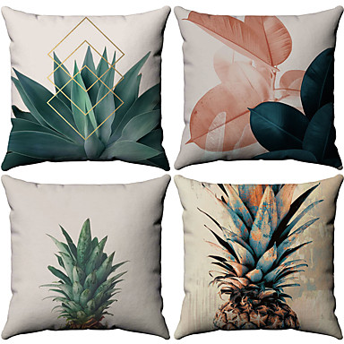 cheap Decorative Pillows-Cushion Cover 4PC Linen Soft Decorative Square Throw Pillow Cover Cushion Case Pillowcase for Sofa Bedroom 45 x 45 cm (18 x 18 Inch) Superior Quality Mashine Washable Pack of 4