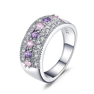billige Ringer i sterlingsølv-Dame Band Ring Kubisk Zirkonium 1pc Hvit Kobber Geometrisk Form Stilfull Luksus Europeisk Bryllup Fest Smykker Kul