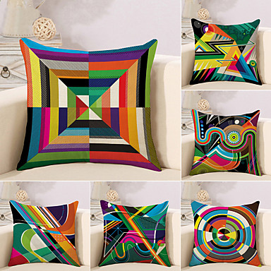 cheap Decorative Pillows-Set of 6 Cotton / Linen Pillow Case, Striped Lines / Waves Geometic Abstract Throw Pillow