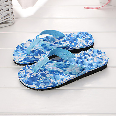 levne Dámské žabky a pantofle-Dámské / Unisex Plátno Léto Pantofle a Žabky Rovná podrážka Modrá / Růžová / černá / modrá