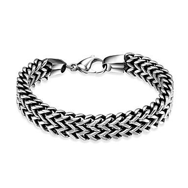levne Pánské šperky-Pánské Náramek Silný řetězec Hip-hop Nerezové Náramek šperky Šedá Pro Narozeniny Denní