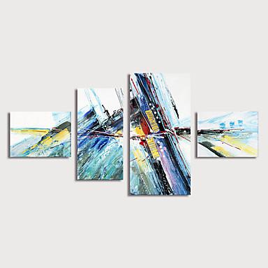 povoljno Ulja na platnu-Hang oslikana uljanim bojama Ručno oslikana - Sažetak Moderna Uključi Unutarnji okvir / Četiri plohe