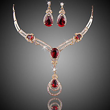 cheap Jewelry Sets-Women's Red Cubic Zirconia Synthetic Ruby Drop Earrings Bridal Jewelry Sets Y Necklace Retro Princess Luxury Fashion Elegant Gold Plated Earrings Jewelry Black / Black / Silver / Silver Purple For