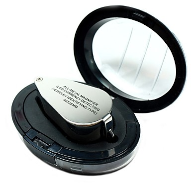 cheap Consumer Electronics-9890 Portable Mini 40 x Loupe Magnifier Magnifying Triplet Jewelers Eye Glass Jewelry Diamond with Ultraviolet Light LED Lamp