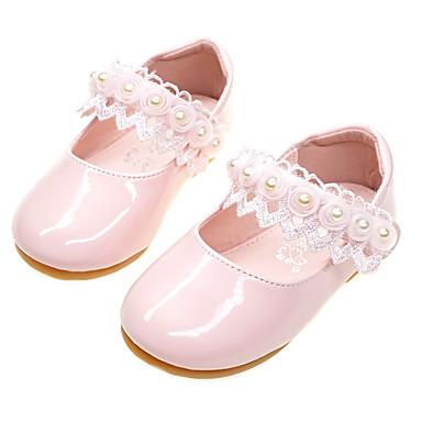 voordelige Babyschoenentjes-Meisjes Comfortabel / Bloemenmeisjesschoenen PU Platte schoenen Peuter (9m-4ys) Kanten stiksel Wit / Licht Roze Lente / Herfst / Feesten & Uitgaan / Rubber