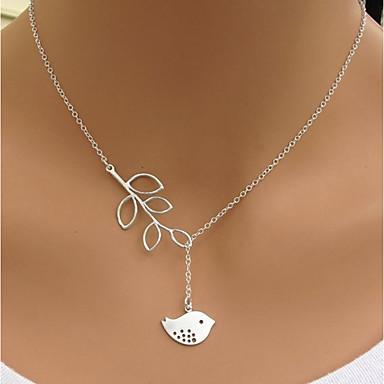 povoljno Modne ogrlice-Žene Ogrlica Ptica Leaf Shape Jednostavan Krom Pink 50 cm Ogrlice Jewelry 1pc Za Dnevno