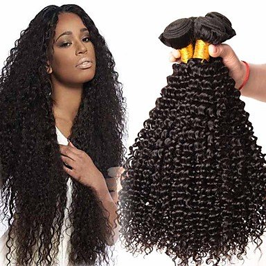 povoljno Ekstenzije od ljudske kose-4 paketića Brazilska kosa Kinky Curly Netretirana  ljudske kose Headpiece Ljudske kose plete Bundle kose 8-28 inch Prirodna boja Isprepliće ljudske kose Nježno Svilenkast Udobnost Proširenja ljudske