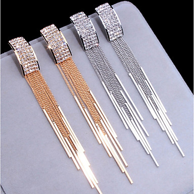 preiswerte Quasten Ohrringe-Damen Tropfen-Ohrringe Lang Anhänger Stil Diamantimitate Ohrringe Schmuck Gold / Silber Für Hochzeit Party Verlobung Klub 1 Paar