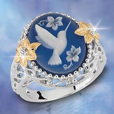 billige Motering-Dame Statement Ring Kubisk Zirkonium 1pc Blå Kobber Geometrisk Form Stilfull Luksus Europeisk Fest Gave Smykker Klassisk Fugl Kul