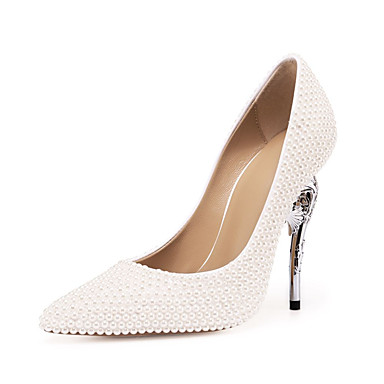 a56a1690d8e Women s Patent Leather Spring   Fall Wedding Shoes Heterotypic Heel Pointed  Toe Pearl White   Party   Evening 7178792 2019 –  99.99