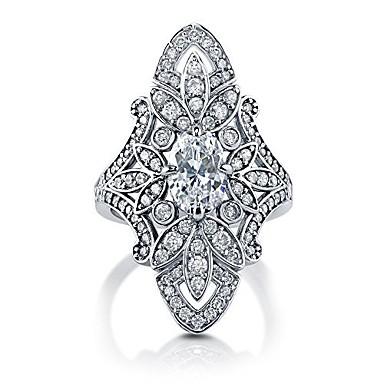 voordelige Zilveren Ring-Dames Statement Ring Ring Kubieke Zirkonia 1pc Wit Koper Geometrische vorm Statement Stijlvol Europees Bruiloft Feest Sieraden Bloem Cool