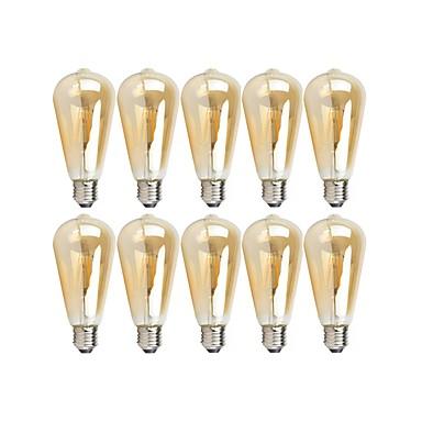 preiswerte LED Glühbirnen-10 Stück 4 W LED Glühlampen 360 lm E26 / E27 ST64 4 LED-Perlen COB Abblendbar Warmes Weiß 220-240 V 110-130 V