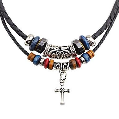 levne Pánské šperky-Pánské vrstvené Náhrdelníky dvouvrstvé Haç Módní PU kůže Chrome Černá 45 cm Náhrdelníky Šperky 1ks Pro Denní