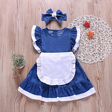 povoljno Beba & Djeca-Djeca Dijete koje je tek prohodalo Djevojčice Aktivan Slatka Style Plava Jednobojni Bez rukávů Iznad koljena Haljina Plava