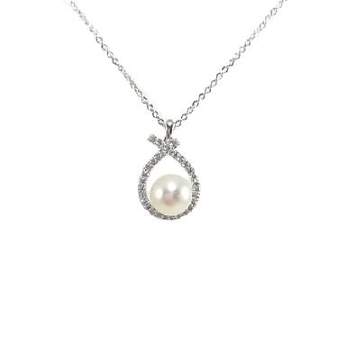 preiswerte Religiöser Schmuck-Damen Weiß Perlen Pendant Halskette Halskette Perlenkette Hoffnung Künstlerisch Einzigartiges Design Modisch Modern Perlen Zirkonia Platiert Weiß 46 cm Modische Halsketten Schmuck 1pc Für Weihnachten
