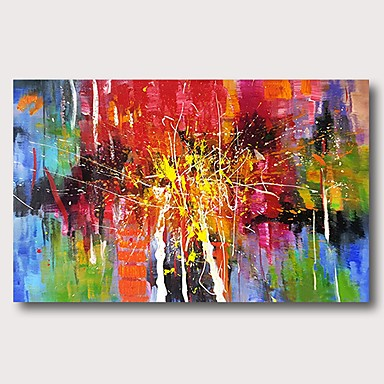 cheap Wall Art-Oil Painting Hand Painted - Abstract Comtemporary Modern Stretched Canvas