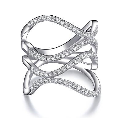 billige Motering-Dame Band Ring Statement Ring Kubisk Zirkonium 1pc Hvit Kobber Geometrisk Form Statement Stilfull Europeisk Bryllup Fest Smykker Kul